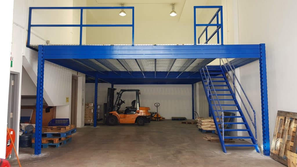 Newly installed mezzanine rack